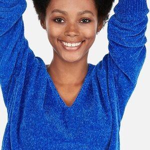 Express Colbat Blue Chenille Sweater